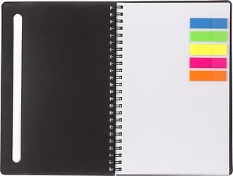 BELVEDER Kroužkový zápisník, 60 linkovaných stran, se značkovacími lístky, bílý
