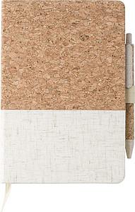 Korkovo plátěný zápisník s linkovaným papírem a kuličkovým perem