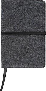 Zápisník A6 s plstěným povrchem, 160 čtverečkovaných stran