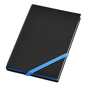 Černý zápisník A6 s barevnou gumičkou, modrá