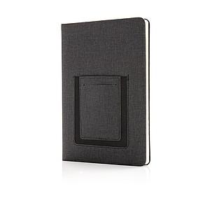 Kvalitní poznámkový blok A5 s kapsou na telefon, černá