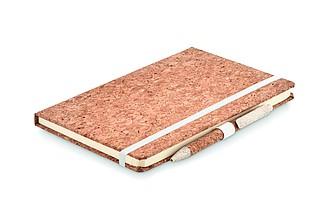 Zápisník A5 s deskami z korku, linkovaný papír