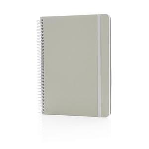 Šedý kroužkový poznámkový blok A5, bílá