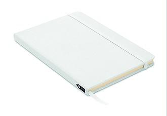 Zápisník A5 s RPET obálkou, 80 linkovaných stran, bílý