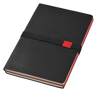 Oboustranný zápisník A5 s gumičkou, černá/červená