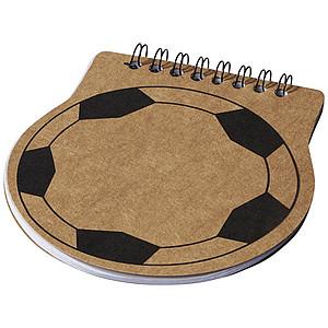 Fotbalově tvarovaný zápisník Score, středně hnědá