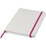 Bílý zápisník A5 s barevnou gumičkou, bílá/černá