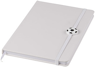 Zápisník A5 sbarevnou gumičkou s fotbalovou ozdobou, bílá