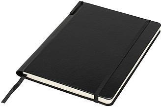 Zápisník Porta velikosti A5 s perem ve hřbetu, černá