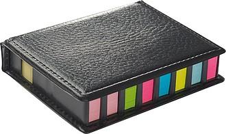 Zásobník s barevnými poznámkovými lístky, černý