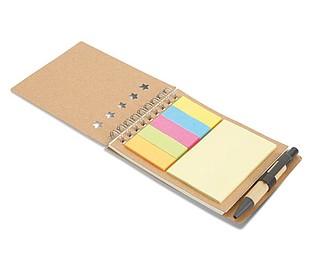 Recyklovaný zápisník s kroužkovou vazbou, bločky a pero