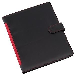 BURKE Sloha A5 s místem pro tablet, černá s červeným hřbetem