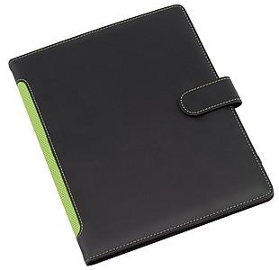 BURKE Sloha A5 s místem pro tablet, černá s zeleným hřbetem