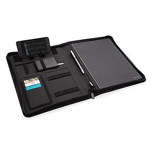Portfolio A4 z RPET s bezdrátovou nabíječkou 5W Air, černá