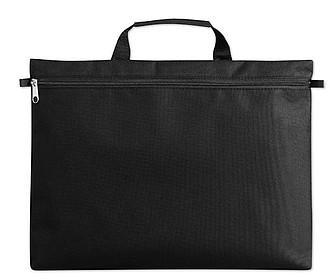 Černá polyesterová taška na dokumenty se zipem