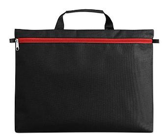Černá polyesterová taška na dokumenty s červeným zipem