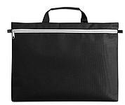 Černá polyesterová taška na dokumenty s bílým zipem