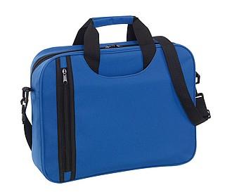 Taška na dokumenty s vertikální přední kapsou, modrá