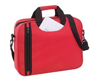 Taška na dokumenty s vertikální přední kapsou, červená