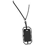 Silikonové pouzdro na kartu s RFID a lanyardem, černá
