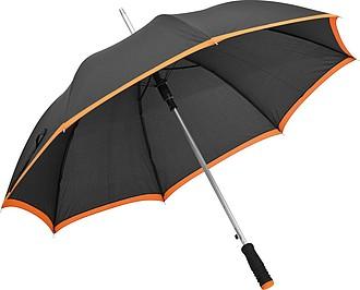 Deštník, automatické otvírání, černý, oranžový okraj