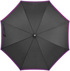 Deštník, automatické otvírání, černý, fialový okraj