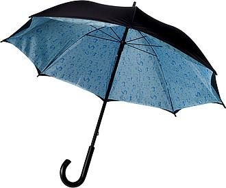 LIMBURK Dvouvrstvý deštník, černo modrý, obloha s kapkami deště, rozměry 100 x 87 cm