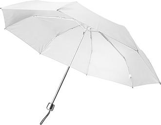 Teleskopický dámský deštník v obalu, rozměry 84 x 55 cm, bílý