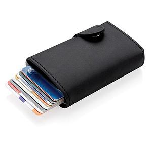 Hliníkové RFID pouzdro na karty s PU peněženkou, černá