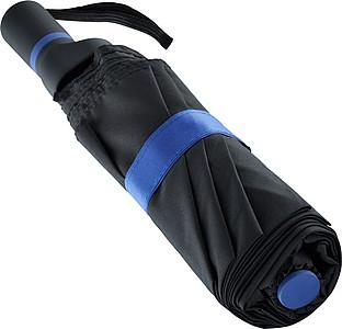 ENARETE Automatický skládací deštník s rukojetí umístěnou na straně, černá/modrá - reklamní deštníky
