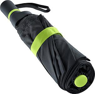 ENARETE Automatický skládací deštník s rukojetí umístěnou na straně, černá/zelená - reklamní deštníky