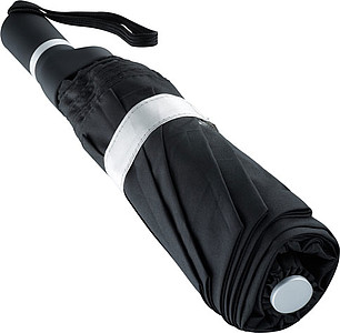 ENARETE Automatický skládací deštník s rukojetí umístěnou na straně, černá/stříbrná