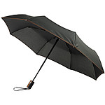 """Skládací, automaticky otvíraný deštník Gisele, 21"""", s vřesově šedým páskem, černá"""