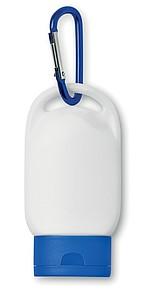 Opalovací mléko 30ml, SPF 30, s karabinou, modrý