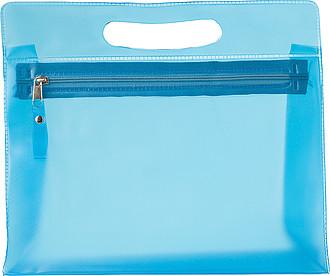 NATESA Kosmetická průhledná taštička na zip s uchem, modrá