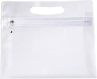 NATESA Kosmetická průhledná taštička na zip s uchem, transparentní ručníky s potiskem