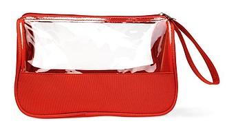 Transparentní PVC toaletní taška, červená