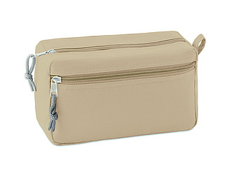 Kosmetická taška s dvojitým zipem, béžová