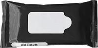 HALDIR Vlhčené ubrousky v uzavíratelném černém obalu ručníky s potiskem