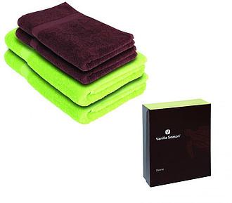 VS DEORIA SET 4 Sada 2 zelených osušek a 2 hnědých ručníků