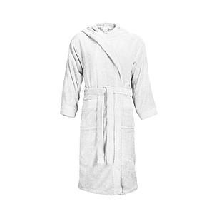 KALEBA Kvalitní, velice pohodlný župan s kapucí, L/XL, bílá ručníky s potiskem