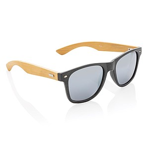 Sluneční brýle z bambusu a pšeničné slámy, černá