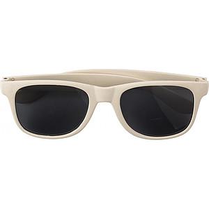 TANGERO Sluneční brýle, UV400, bambusové obroučky, béžové - reklamní kancelářské potřeby