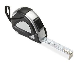 Svinovací metr s klipem a poutkem, 3m, černá stříbrná