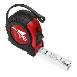 Svinovací metr s klipem a poutkem, 5m, černá/červená
