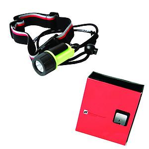 SCHWARZWOLF ATON Malá voděodolná baterka/čelovka s baterií - reklamní vesty