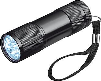 Hliníková svítilna s 9 LED, s poutkem, černá
