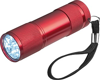 Hliníková svítilna s 9 LED, s poutkem, červená