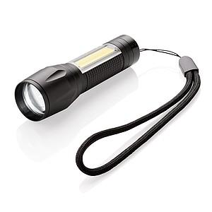 3W LED svítilna s COB světlem, černá
