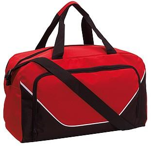 JORDANINO Sportovní taška s přední kapsou na zip, černo červená